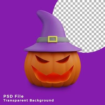 Zucca spaventosa 3d con l'illustrazione di progettazione dell'icona del bene di halloween del cappello delle streghe alta qualità