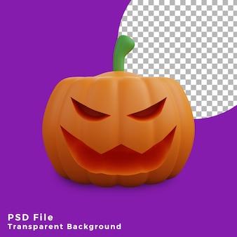 3d faccina spaventosa zucca halloween asset icona design illustrazione alta qualità