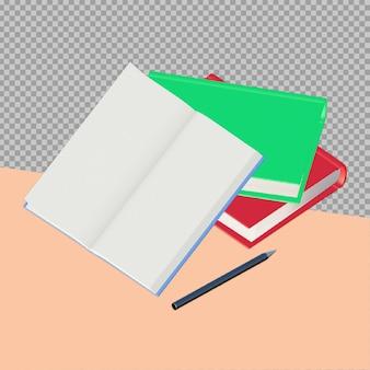 Progettazione della rappresentazione del libro di scuola 3d isolata
