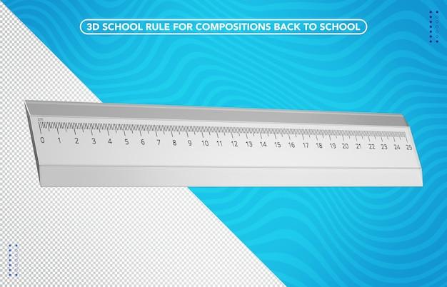 Righello scolastico 3d per il ritorno a scuola