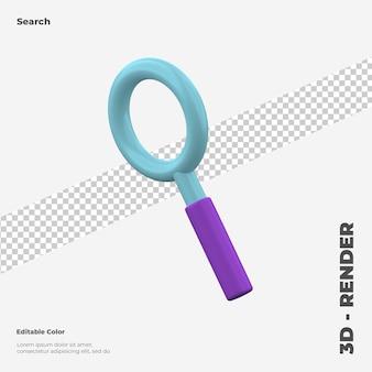 Mockup di icona di ricerca 3d isolato