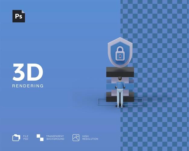 Illustrazione del sistema di sicurezza 3d