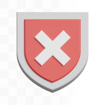 Icona di errore scudo 3d