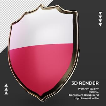 3d scudo bandiera polonia rendering vista a destra