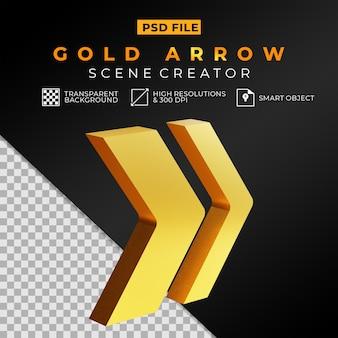 Creatore di scene con freccia dorata lucida 3d