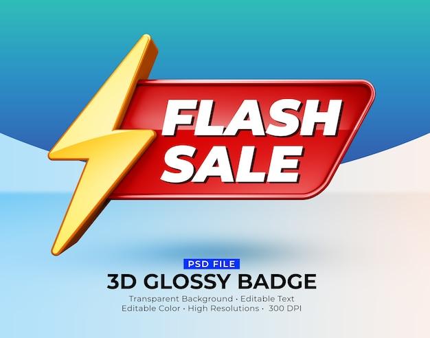 Mockup di vendita flash badge lucido lucido 3d