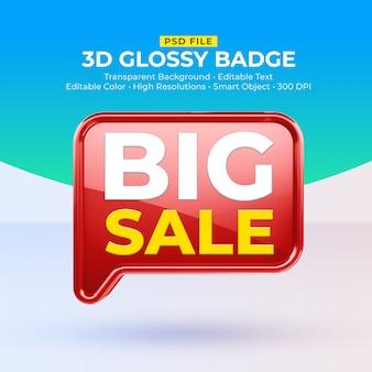 Distintivo lucido lucido 3d con mockup di grande vendita