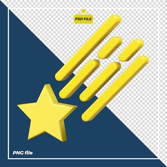 Disegno dell'icona della stella cadente 3d