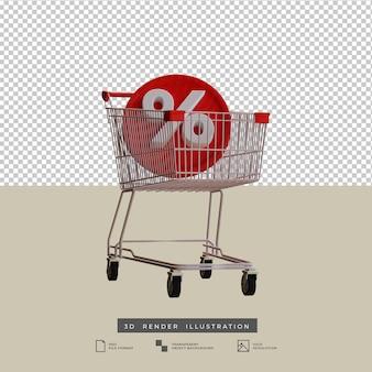 Carrello della spesa 3d con illustrazione dell'icona di sconto
