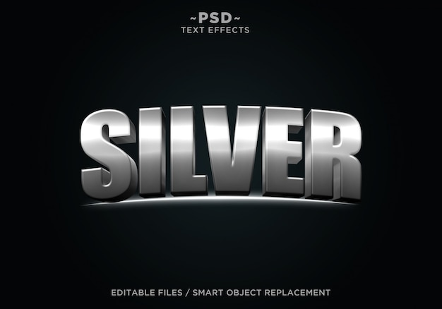 Testo modificabile effetto cinematografico argento 3d