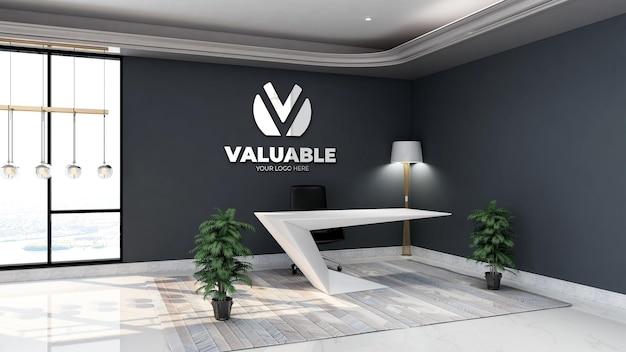 Modello 3d del logo aziendale in argento nella stanza della reception dell'ufficio con interni dal design minimalista