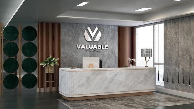 Modello 3d del logo aziendale in argento nella stanza della reception dell'ufficio con tema in legno e pietra