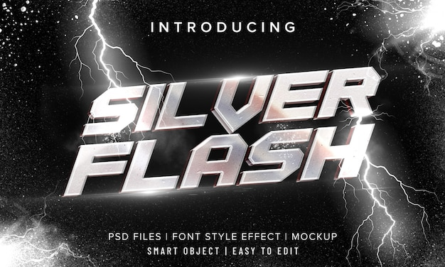 Effetto testo 3d in metallo cromato argento flash
