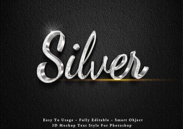 Modello di effetto testo glitter argento 3d