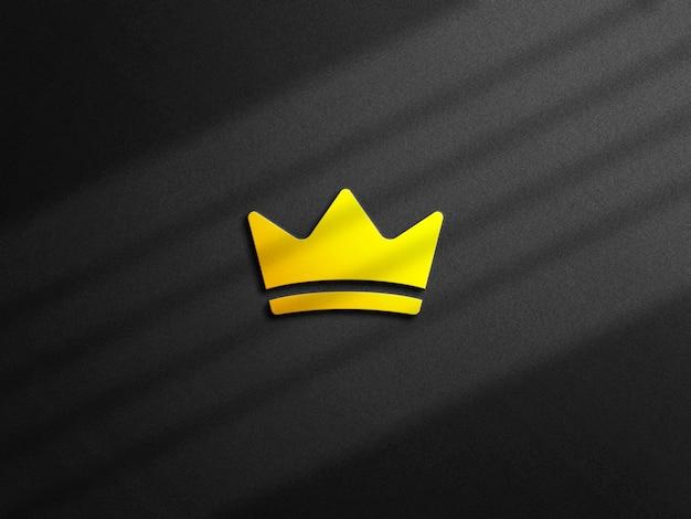 Logo 3d argento mockup con sovrapposizione di ombre