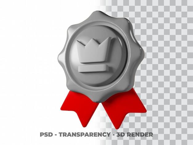 Icona medaglia d'argento 3d con sfondo trasparente