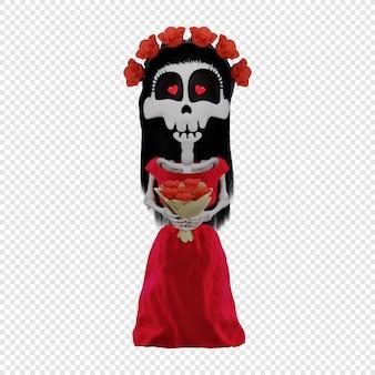 Scheletro 3d calavera katrina in un vestito rosso il concetto della festa di el dia de muertos