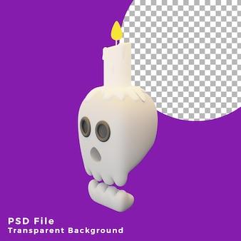 Testa del cranio 3d con l'illustrazione di progettazione dell'icona delle risorse del personaggio di halloween spaventoso della candela di alta qualità