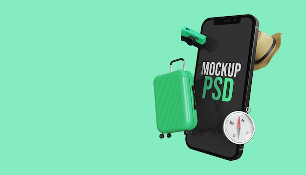 Mockup dello schermo dello smartphone 3d con pacchetto da viaggio