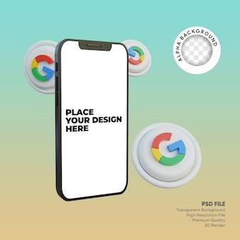 Smartphone 3d e icona dei social media google