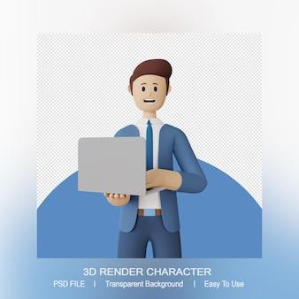 Il carattere sorridente dell'uomo 3d tiene un computer portatile