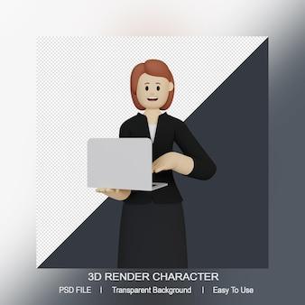 Il carattere sorridente della donna 3d tiene un computer portatile