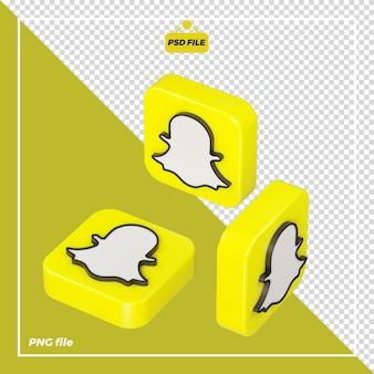 Icona snapchat 3d su tutti i lati