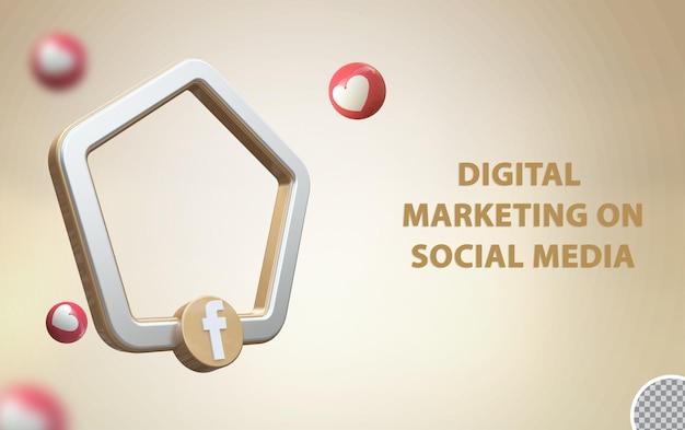 Social media 3d facebook con mockup di frame