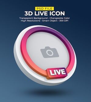 Streaming live di avatar icona social media 3d