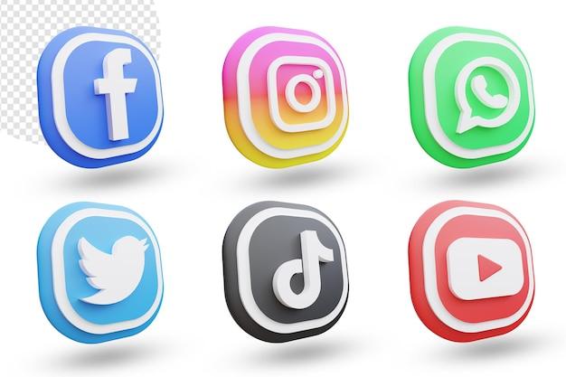Insieme dell'icona di media sociali 3d o raccolta del logotipo