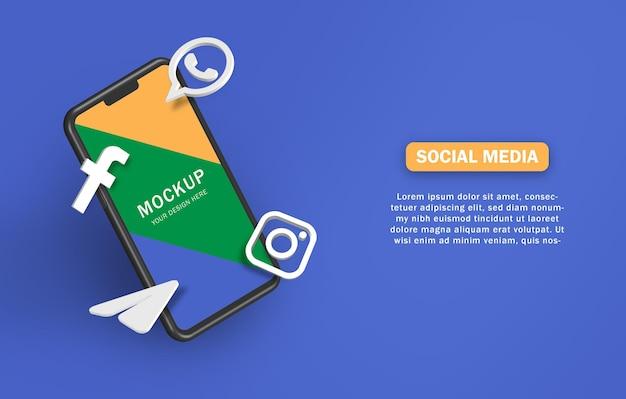 Icona di social media 3d con mockup di telefono cellulare