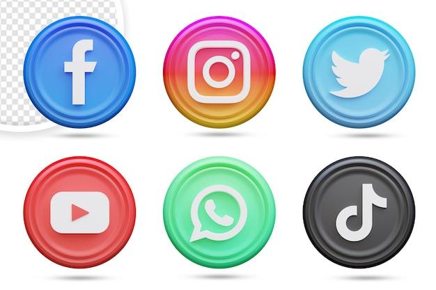 Pacchetto icone social media 3dd