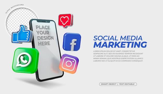 Icone di social media 3d con mockup di schermo mobile