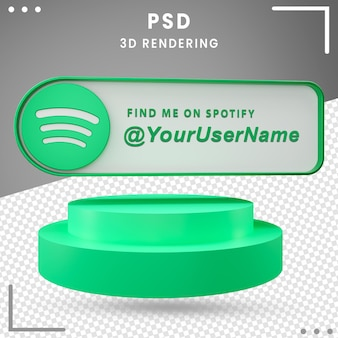 Icona di mockup di social media 3d spotify premium psd