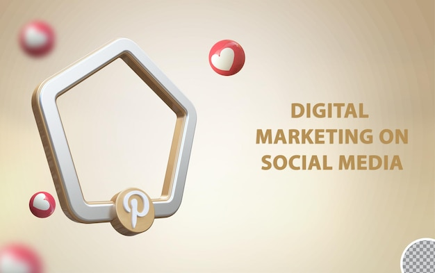 3d social media pinterest con cornice mockup