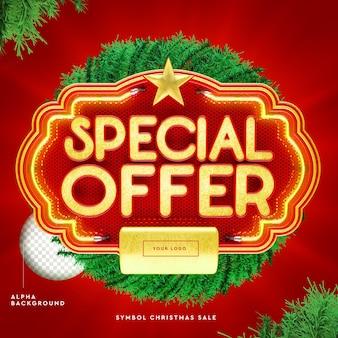 Logo di offerta speciale 3d per il rendering di natale