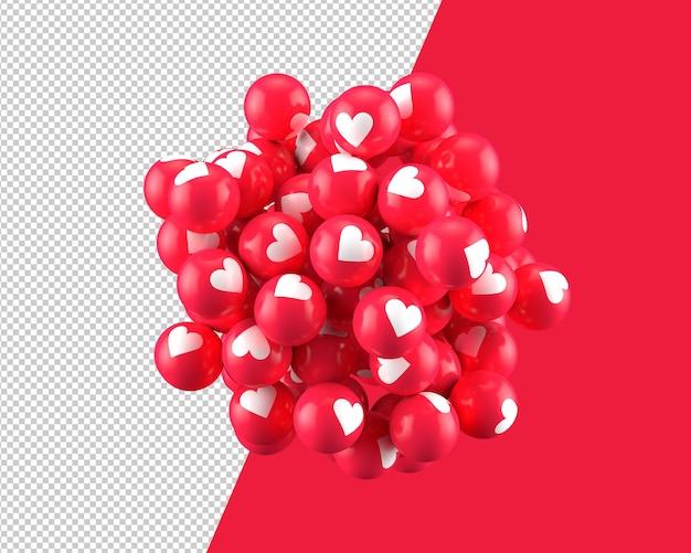 Sfere 3d dell'icona del cuore