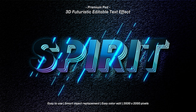 Modello di effetto testo 3d spirito