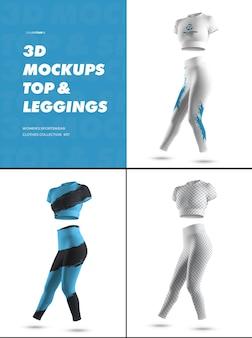 Leggings sportivi 3d e top mockup