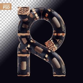 Lettera nera steampunk 3d con parti in bronzo