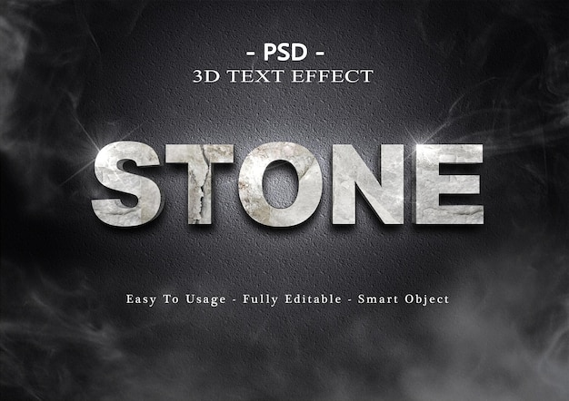 Effetto testo pietra 3d