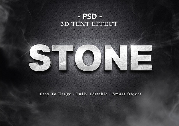 Effetto stile testo pietra 3d