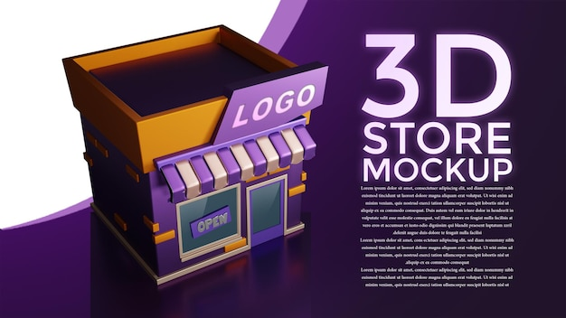 Modello di negozio 3d da tutte le direzioni