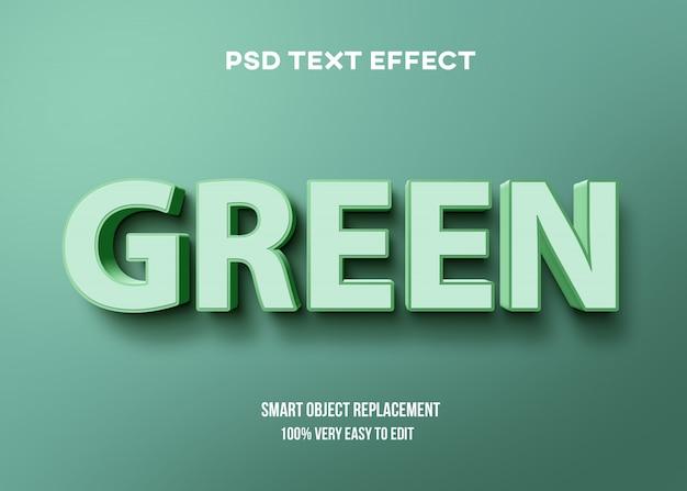 Forte effetto di testo pastello verde grassetto 3d