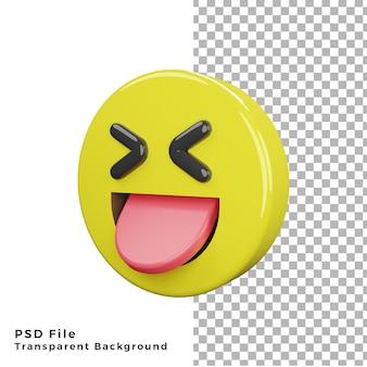 L'icona dell'emoticon con la lingua spuntata 3d rende i file psd di alta qualità
