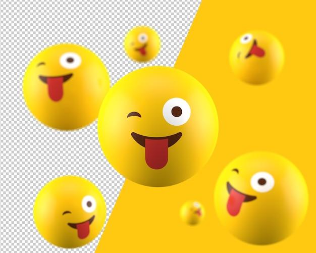 3d ha bloccato fuori la lingua ammiccante icona emoticon occhi