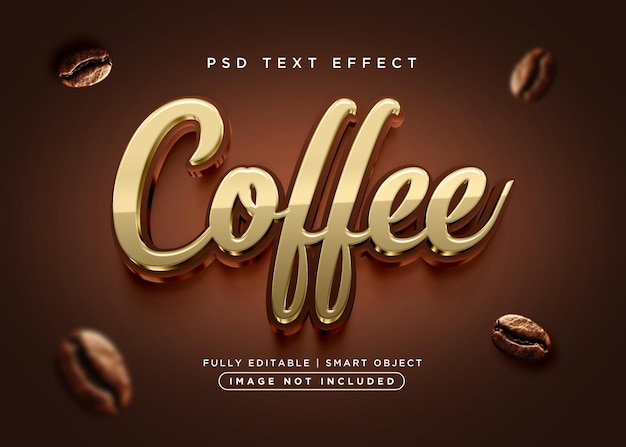 Effetto testo caffè in stile 3d
