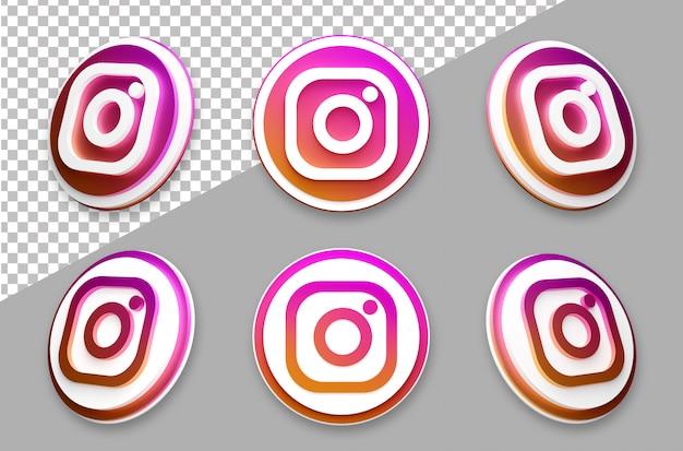 Insieme di logo di social media instagram in stile 3d