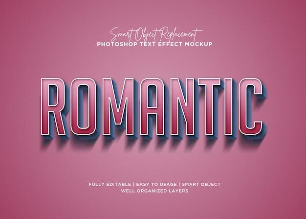 Modello romantico di effetto del testo dell'annata di stile 3d