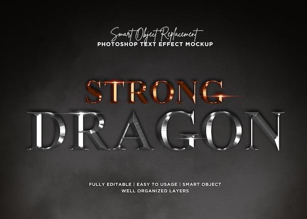 Effetto forte del testo del drago di stile 3d Psd Premium